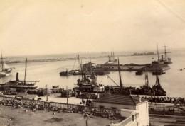 Algerie Alger Le Port Bateaux Panorama Ancienne Photo 1880'