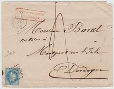 "1863 - ENVELOPPE D'EXCIDEUIL (DORDOGNE) Avec TAXE & CACHET ROUGE ""AFFRANCHISSEMENT INSUFFISANT"" - Postmark Collection (Covers)"