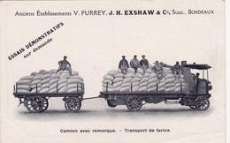 CPA (33) BORDEAUX Camion Et Remorque Transport De Farine Ets V. PURREY Succ. J.H. EXSHAW Publlicité (2 Scans) - Camions & Poids Lourds