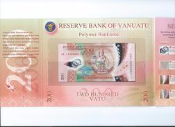 Vanuatu 200 Vatu 2014 Handsigned, In Folder UNC - Vanuatu