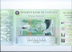 Vanuatu 2000 Vatu 2014 Handsigned, In Folder UNC - Vanuatu