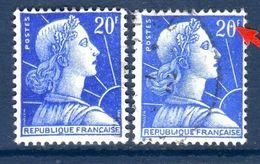 2 Timbres Du N° 1011B Oblitérés 1 Avec Variété:petit Anneau Lune Blanc Au Centre Du 0 De 20F - Errors & Oddities