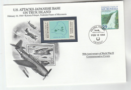 1944 MICRONESIA Special COVER  Anniv WWII USAF TRUK ISLAND ATTACK Event Aviation Stamps Waterfall - WW1