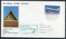 1987 Indonesia / Thailand Lufthansa First Flight Jakarta - Bangkok - Indonesia