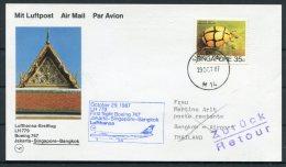 1987 Singapore / Thailand Lufthansa First Flight - Bangkok - Singapore (1959-...)