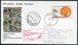 1987 Singapore / UAE Lufthansa First Flight - Abu Dhabi - Singapore (1959-...)