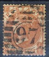 UK 1867-80 Victoria N. 36 - 10 Penny, Bruno Rosso FQ, Tav. 1, Fil. 6, Usato Cat. € 450 - Used Stamps