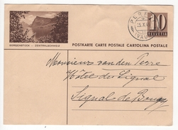 Entier Postal Illustré De 10 Cts Borgenstock - Zentralschweiz. Circulé En 1946 - Suisse