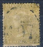 UK Victoria 1867-80 N. 35 P. 9 Giallo  Bistro, BS, Tav. 4, Fil. 6 Usato Cat. € 380 - Used Stamps