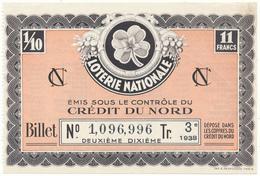 LOTERIE NATIONALE - Crédit Du Nord 1938 - Billetes De Lotería
