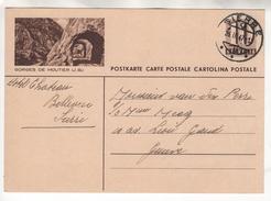 Entier Postal Illustré De 10 Cts Gorges De Moutier (J.B.). Circulé En 1947 - Schweiz