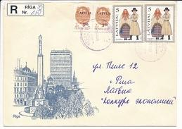 Mix Franking MiF Registered Cover - 18 January 1994 Riga-39 - Latvia