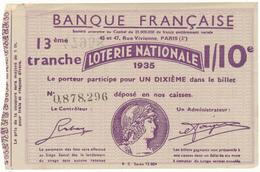 LOTERIE NATIONALE - Banque Française, 1935 - Biglietti Della Lotteria