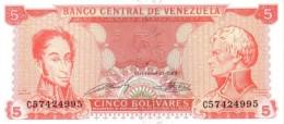 VENEZUELA 5 BOLIVARES 1989 P-70b UNC 8 DIGIT SERIAL # [ VE070b ] - Venezuela