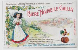 CPA Bière Publicité Publicitaire Bière Gallia Alsace Paris Brasserie Non Circulé Variété - Publicité