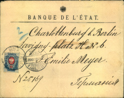 1902, Letter Franked With 20 Kop. Coat Of Arms From ST. PETERSBURG To Berlin. Interesting Parcel Stamp On Back. - 1857-1916 Empire