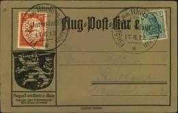 1912, 17.6., 10 Pfg. Flugpost Rhein-Main Mit 5 Pfg. Germania Auf üblicher Brauner Sonderkarte. - Zeppelins