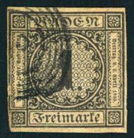 1851, 1 Kreuzer Schwarz Auf Braun, Links Unten Leicht Berührt. - Bade
