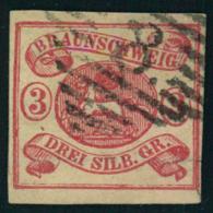 """1862, 3 Sgr. Karmin Auf Weiß, Voll- Bis Breitrandiges Kabinettstück Mit Nummernstempel """"""""8"""""""" BRAUNSCHWEIG. Rückseitig Kl - Brunswick"""
