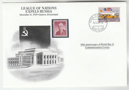 1989 SWITZERLAND Special COVER Anniv WWII RUSSIA EXPELLED By LEAGUE OF NATIONS Event Stamps Flag - Guerre Mondiale (Seconde)