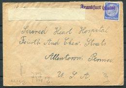 Germany Frankfurt Censor Cover - Sacred Heart Hospital, Allentown, Penn. USA - Briefe U. Dokumente