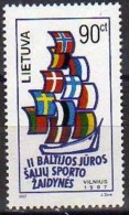 Ref. LT-578 LITHUANIA 1997 SHIPS & BOATS, SPORT GAMES OF BALTIC SEA, FLAGS - MI# 644 = MINT MNH 1V Sc# 578 - Lithuania