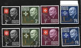 Malta 1966 Churchill Commemoration Complete Set LMM And Used - Malta