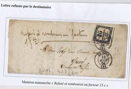 """Taxe N°3 (15c Typo) Sur Lettre (1864) Refusée Par Destinataire - Mention Manuscrite """"refusé Et Remboursé Au Facteur 15c"""" - Taxes"""