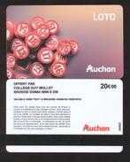 GIFT CARD - Carte Cadeau Auchan - LOTO Nouveau Modèle - 20 € COLLEGE GUY MOLLET - Cartes Cadeaux