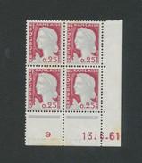 TIMBRE - Coins Dates -  0,25F Marianne De DECARIS  - 13/6/61 - 1960-1969