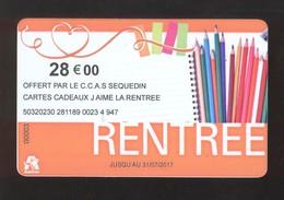 GIFT CARD - Carte Cadeau Auchan - RENTREE - 28 € - CCAS SEQUEDIN - Cartes Cadeaux
