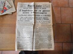 REIMPRESSION FRANCE-SOIR DU LUNDI 4 SEPTEMBRE 1939 L'ANGLETERRE EST EN GUERRE AVEC L'ALLEMAGNE LA FRANCE SERA EN GUERRE - Zeitungen