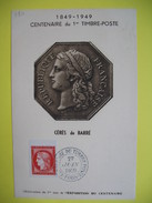 Carte-Maximum    N° 830  Timbre Non Dentelé Rouge, Type  Cérès  1949 - Cartoline Maximum