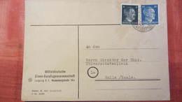 DR 33-45: Fern-Brief Mit 20 Pf Hitler In MiF Aus Leipzig-Reichsmessestadt Nach Halle Knr: 791 - Briefe U. Dokumente