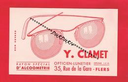 1 Buvard & FLERS Orne ... Y.CLAMET OPTICIEN - LUNETIER 35 Rue De La Gare ... - Löschblätter, Heftumschläge