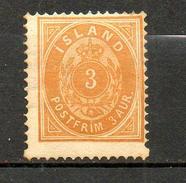ISLANDE - 1882  (**) Y&T N° 12    P14x13,5  Type I - Neufs