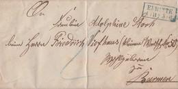 Preussen Brief Blauer R2 Erwitte 1.11. Gel. Nach Barmen Mit Inhalt - Preussen
