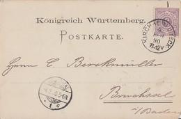 Württemberg Karte EF Minr.45 Kirchheim-Teck 4.2.90 - Wuerttemberg