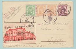 EU6  Entier Postal Publibel 641 Banque De Bruxelles.   Couillet 20.2.47 écrite à Chatelet. Pour La Tchecoslovaquie - Stamped Stationery