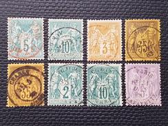 Lot Type Sage N° 64/65/86/93x2/62/76/95 Avec Oblitèration Cachet à Date D'Epoque à 16% De La Cote  TTB - 1876-1878 Sage (Type I)