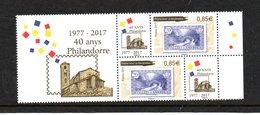 France  - Nvtés 2017 - VF 1.70 €   -  Paire Des 40 Ans De ¨Philandorre - Andorre Français