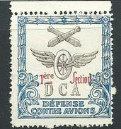 FRANCE VIGNETTE DELANDRE AVIATION 1ere Section DCA - WWI WW1 Guerre Cinderella 1914 1918 Poster Stamp - Erinnophilie