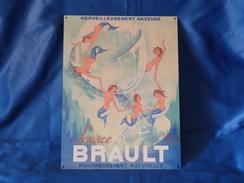 """Plaque En Tôle """"SOURCE BRAULT"""" Eau Gazeuse. - Tin Signs (after1960)"""
