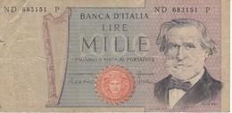BILLETE DE ITALIA DE 1000 LIRAS DEL AÑO 1981 DE VERDI  (BANKNOTE) - [ 2] 1946-… Republik