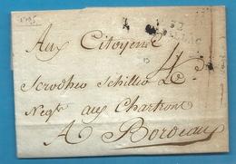 Gironde - Cadillac Pour Schroder Et Shyler à Bordeaux. LAC De L'An III De La République écrite à BEGUEY. Cote 100euros - Marcophilie (Lettres)