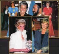 Tod Lady Di 1997 Niger 5 Blocks 110/111 ** 40€ Fotos Diana Great Britain Hojas Blocs Princess Ss Royal Sheets Bf UK - Stamps