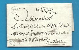 Gironde- Bordeaux Pour Nevers (Nièvre). LAC De 1811 En Port Payé - Marcophilie (Lettres)