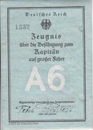 Zeugnis Kapitän Auf Großer Fahrt A6 - Deutsches Reich - Hamburg 1932  (27889) - Diplome Und Schulzeugnisse