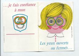 Calendrier 1964 - YEUX à Systeme Hologramme - Teinturier Fillette à Col Claudine Illustrateur Berry - Petit Format : 1961-70