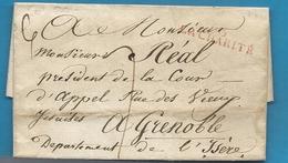Nièvre - La Charité Pour Grenoble (Isère). MP 56/LA CHARTITE En Rouge - Marcophilie (Lettres)